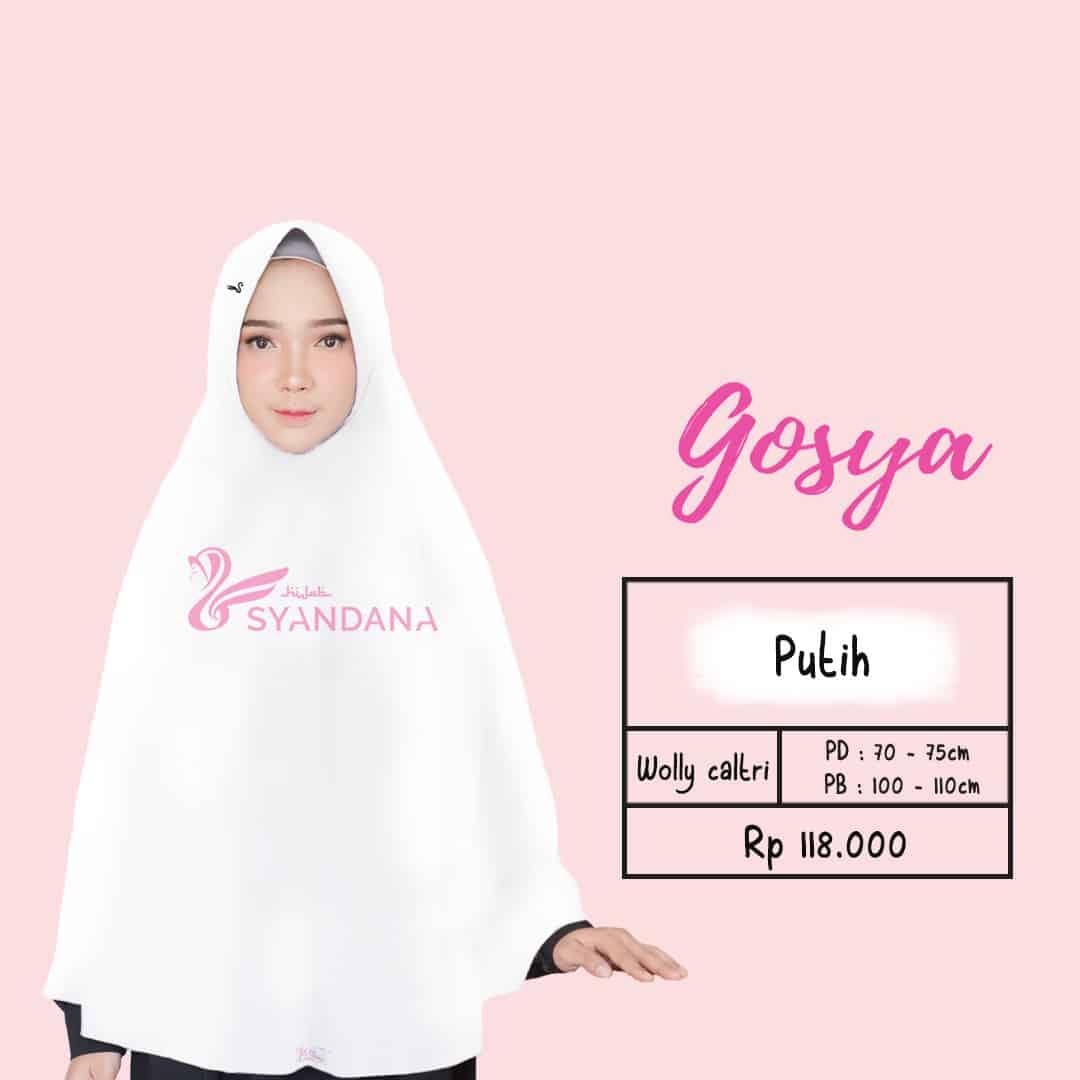 Jual Jilbab Bergo Gosya Putih Syari Jakarta Hijab Syandana